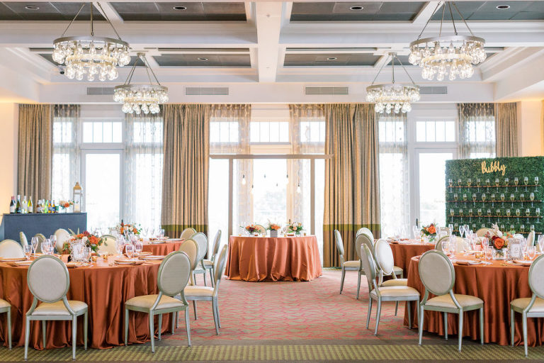 St. Pete Wedding Venue The Birchwood   Intimate Micro Wedding Elopement COVID Styled Shoot   Fall Autumn Wedding Inspiration   Indoor Hotel Ballroom Reception with Orange Copper Wedding Table Linens   Outside the Box Event Rentals   Breezin' Weddings