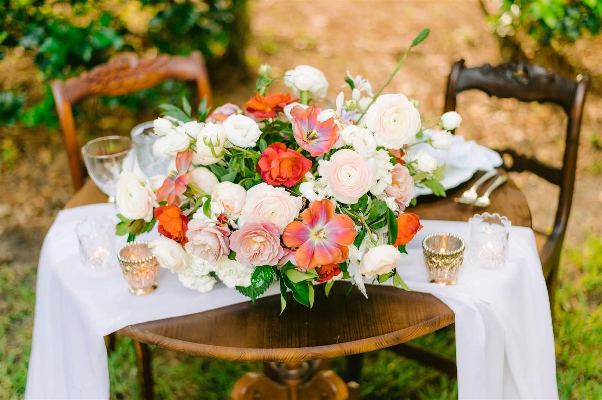 Tampa Bay Private Residence Wedding, Romantic Backyard Intimate Reception with Wooden Antique Household Furniture for Sweetheart Table, Decorated with Lush Bridal Bouquet with Triadic Color Scheme, pink, peach and ivory florals, Roses, hibiscus and greenery, White Linen Draping | Tampa Bay Wedding Planner, Designer, Florist John Campbell Weddings | Styled Shoot
