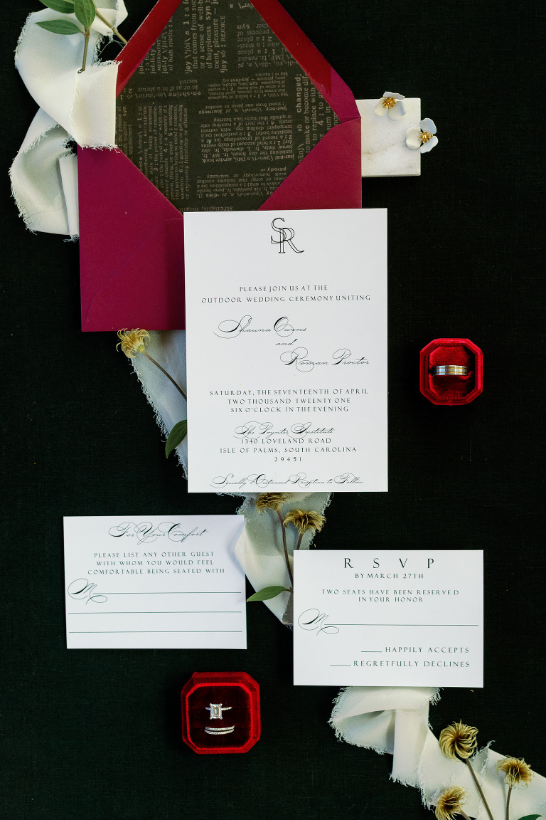 St. Pete COVID Wedding Stationery Flat Lay Invitation Suite with Social Distancing Response Card | Black and White Wedding Invitation with Red Envelope and Red Velvet Ring Box | Dewitt for Love Photography
