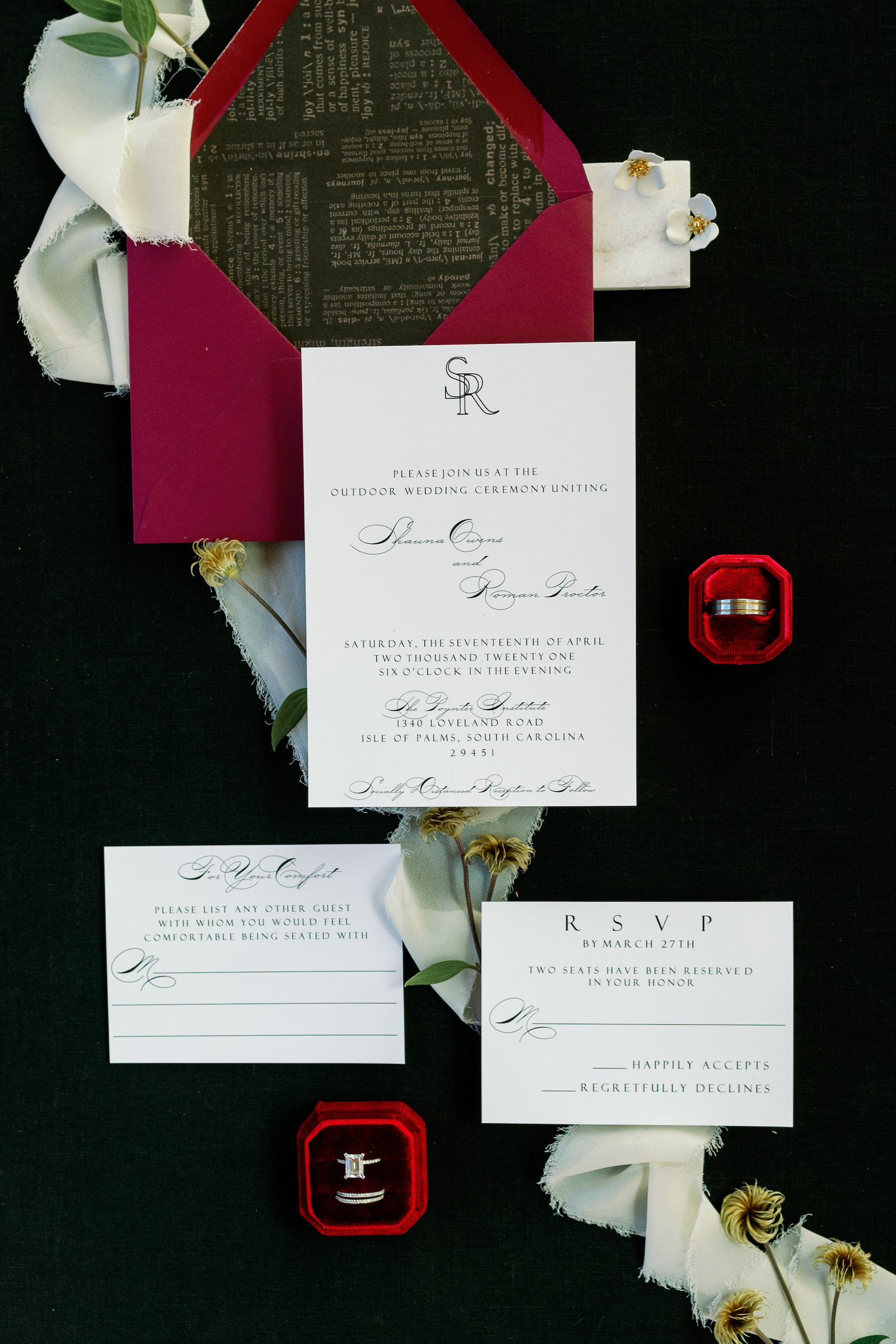 St. Pete COVID Wedding Stationery Flat Lay Invitation Suite with Social Distancing Response Card   Black and White Wedding Invitation with Red Envelope and Red Velvet Ring Box   Dewitt for Love Photography
