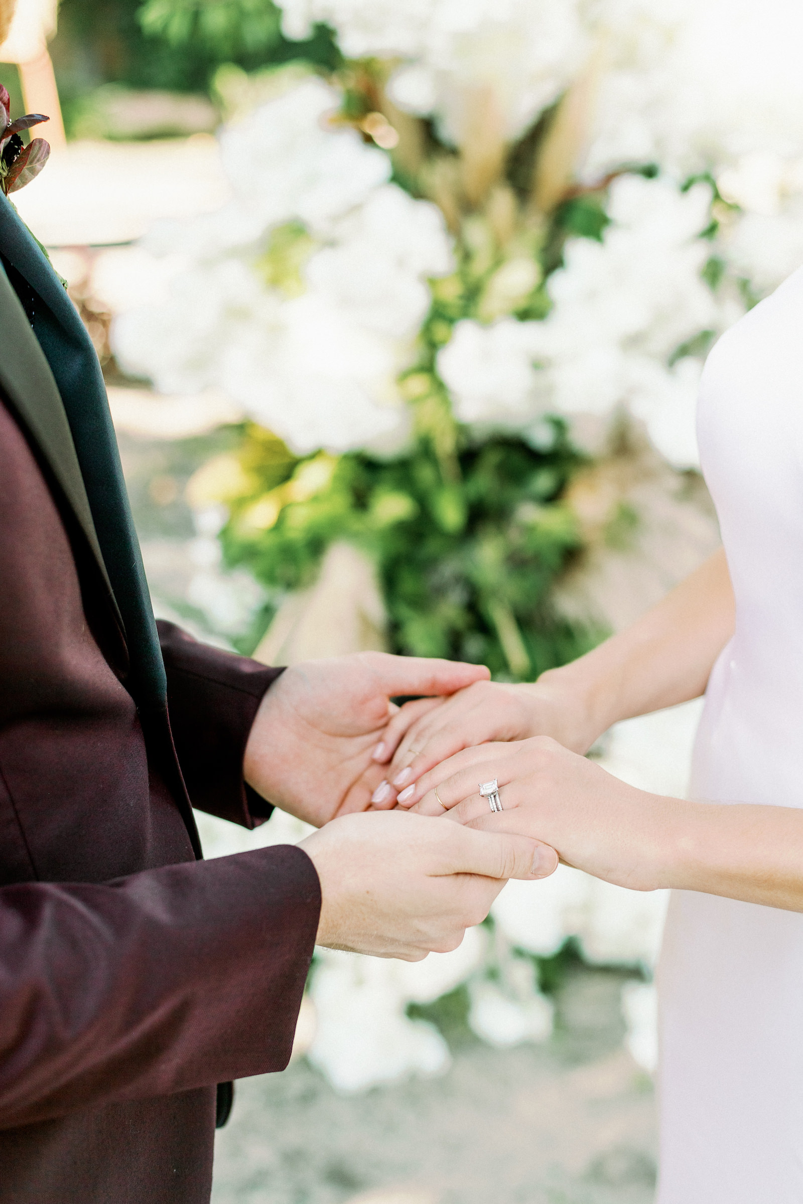 Bride and Groom Outdoor Atrium Intimate COVID Elopement Micro Wedding Ceremony Vows Rings Exchange