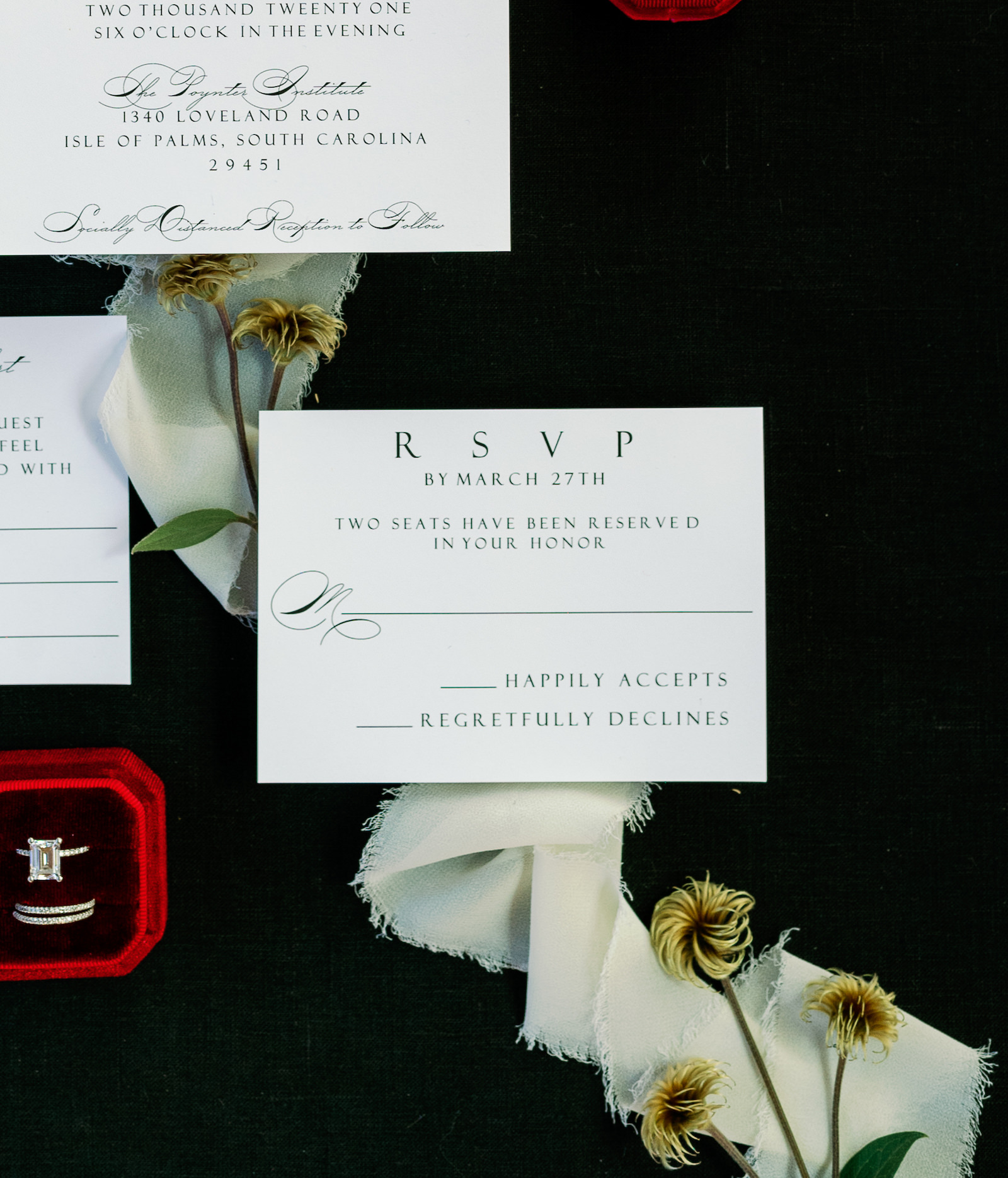 St. Pete COVID Wedding Stationery Flat Lay Invitation Suite with Social Distancing Response Card   Black and White Wedding Invitation with Red Envelope and Red Velvet Ring Box