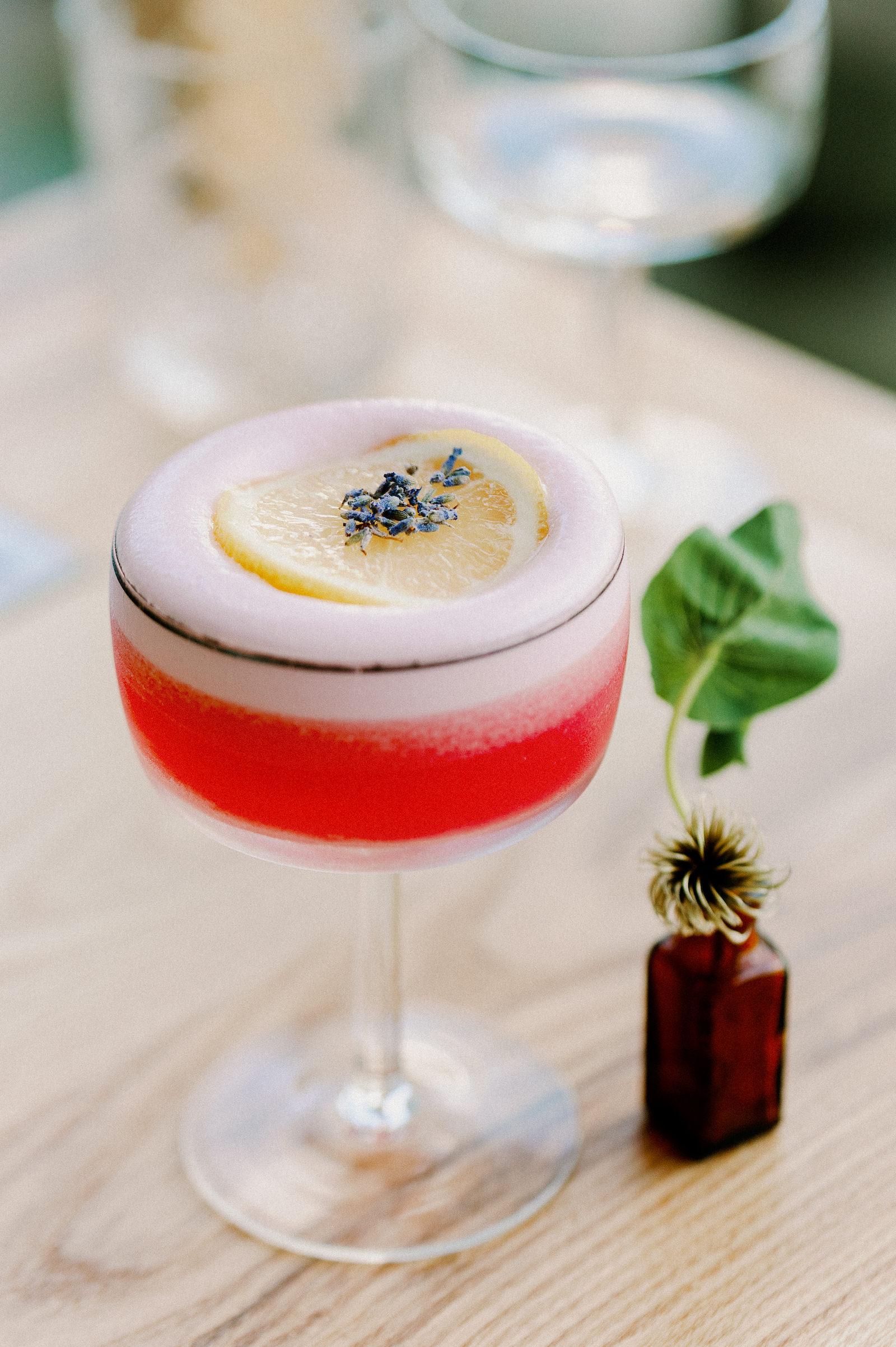 Wedding Craft Cocktail Bar   Lavender Raspberry Gin Fizz Bride Signature Pink Drink