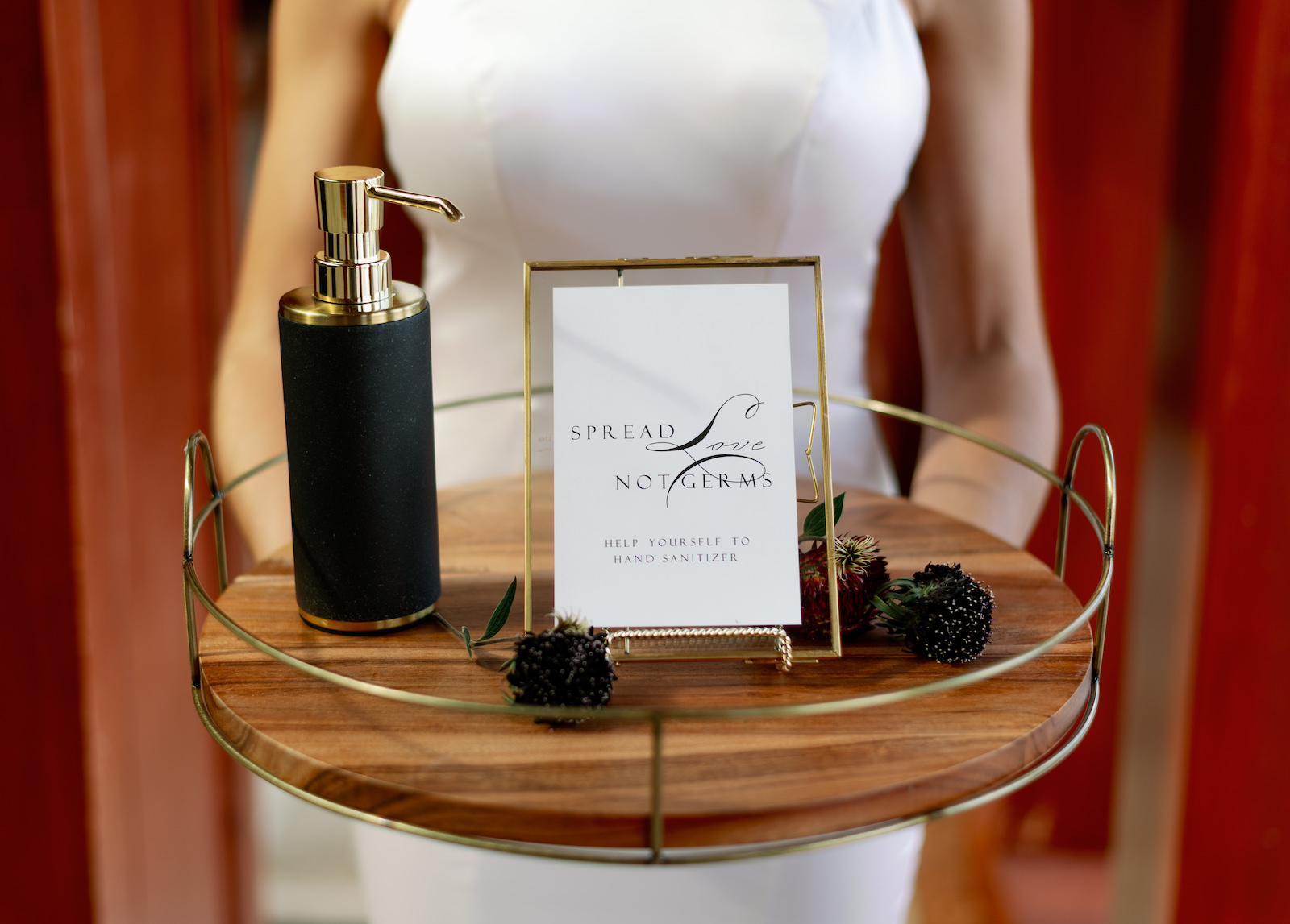 Intimate COVID Elopement Micro Wedding Hand Sanitizer   Gold Framed Sign Spread Love Not Germs   Winsor Event Studio