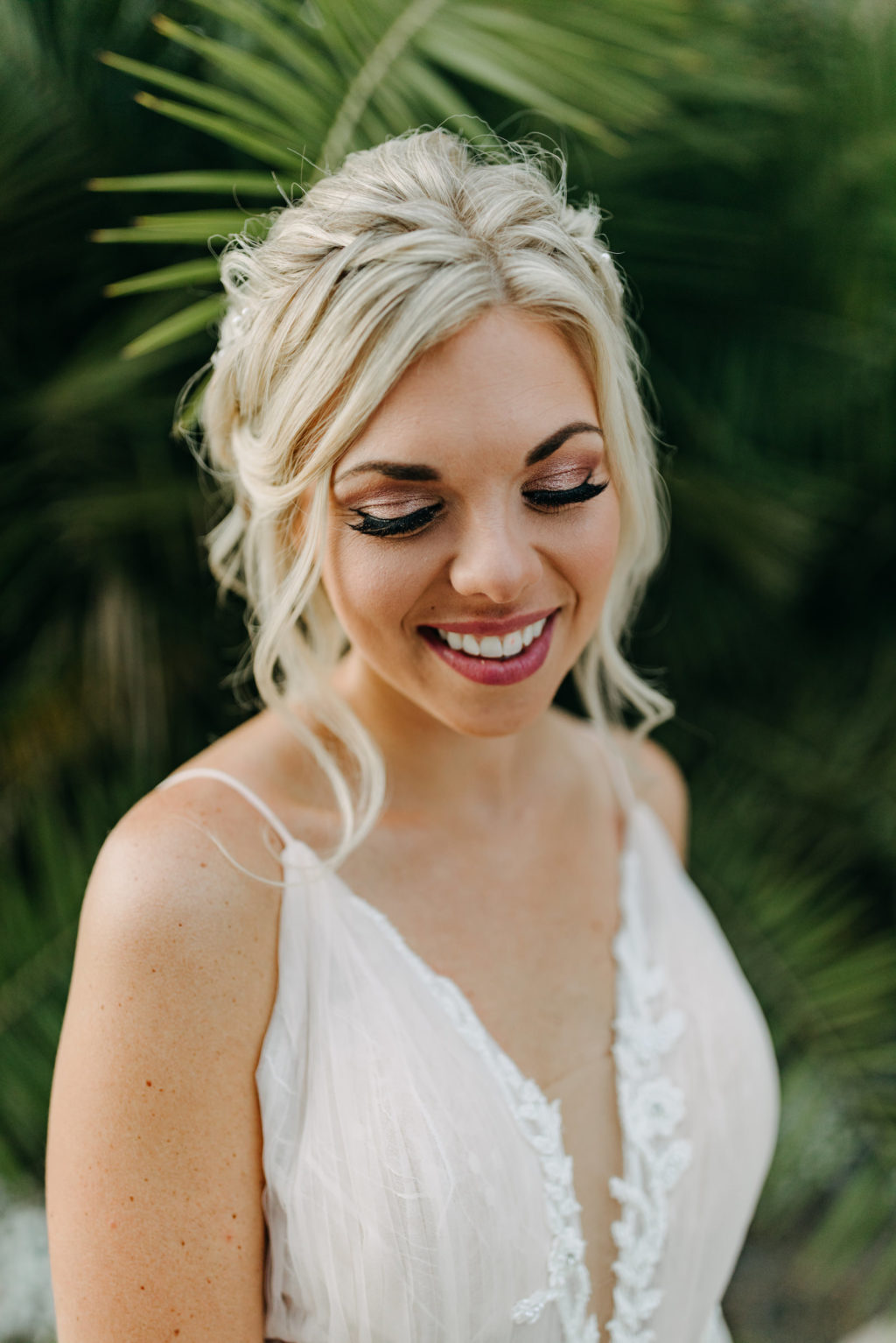 Tampa Bay Bride with Romantic Natural Makeup Look, Hair Updo with Loose Waves | Tampa Wedding Hair and Makeup Artist Femme Akoi Beauty Studio | Amber McWhorter Photography | Styled Shoot