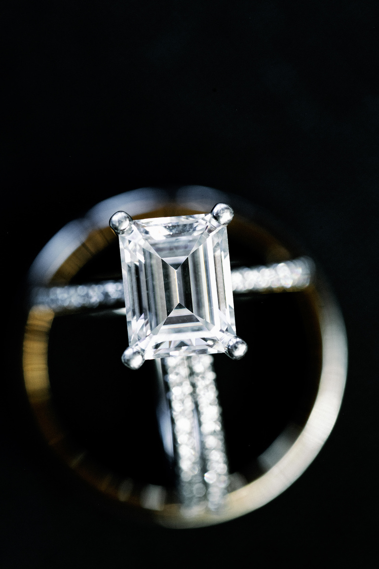 Wedding Rings Shot | Emerald Cut Solitaire Diamond Engagement Ring with Channel Set Diamond Band