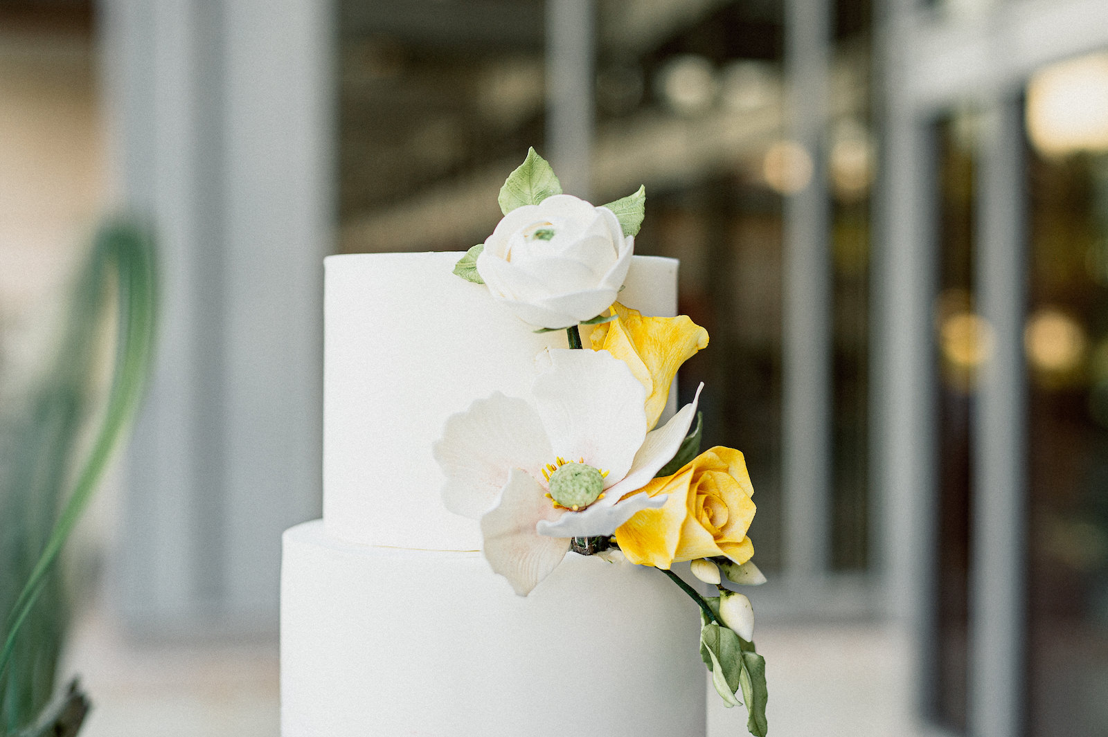 Unique Wedding Cake by Tampa Bay Cake Company   Black and White Wedding with Maroon Burgundy and Gold   Watercolor Fondant Wedding Cake with Sugar Flower Roses and Magnolia Blossom