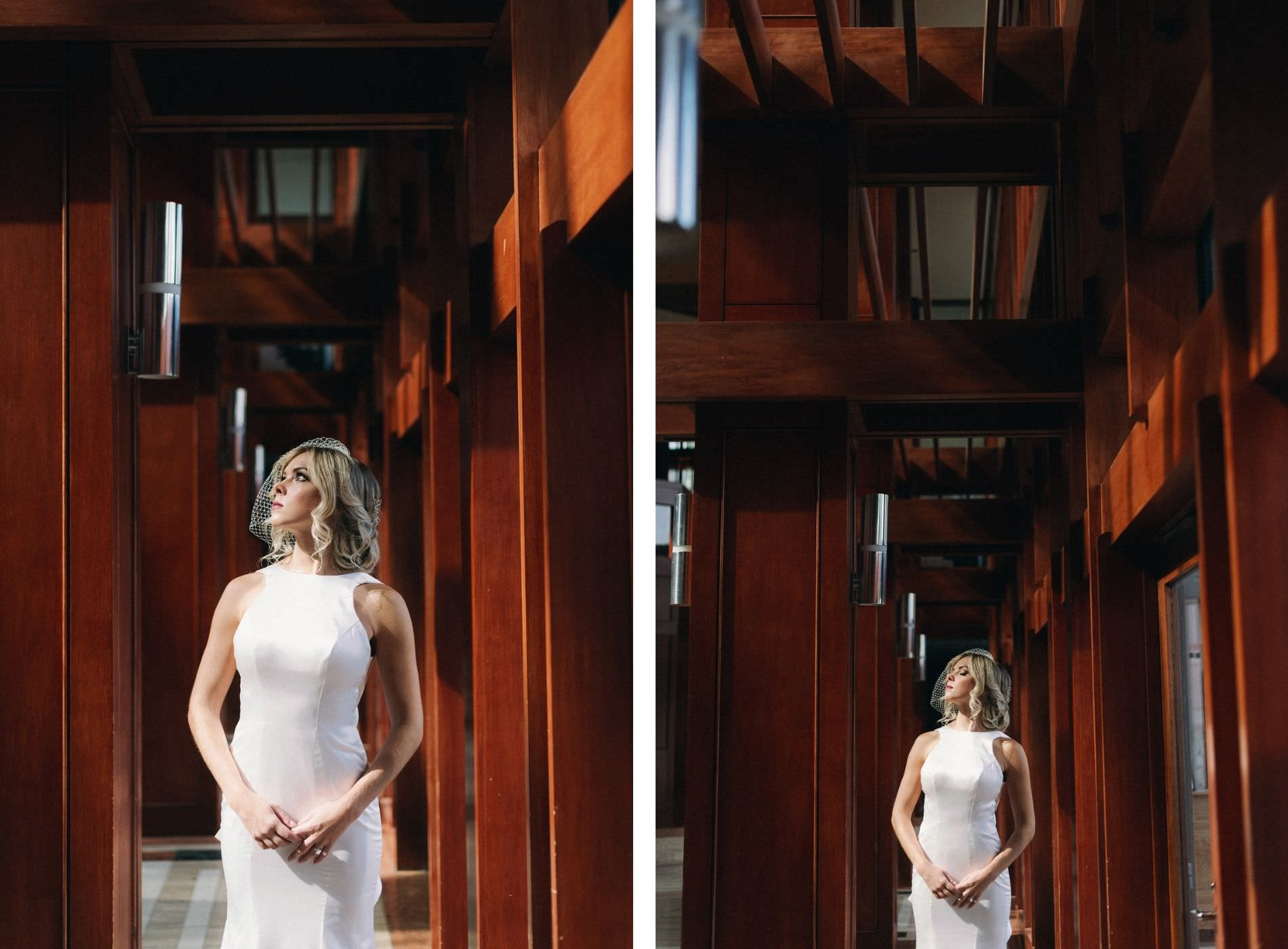 LoAdoro Bridal Sleek Fitted Modern Wedding Dress Bridal Gown with Birdcage Veil from Tampa Bridal Shop Truly Forever Bridal   The Poynter Institute   Dewitt for Love Photography