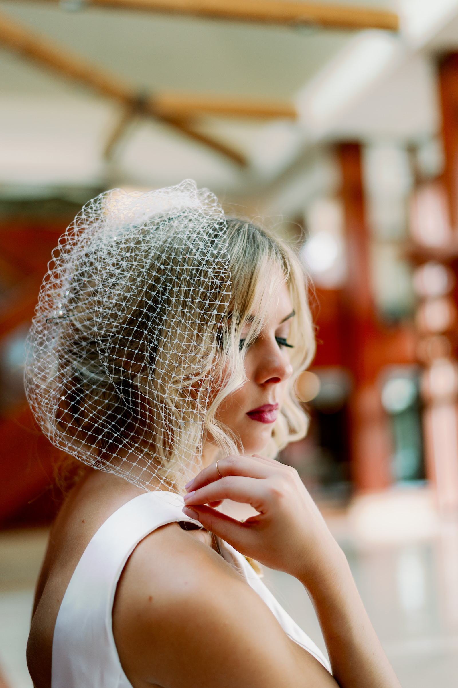 Modern Wedding Birdcage Veil from Tampa Bridal Shop Truly Forever Bridal   Femme Akoi Beauty Studio   Dewitt for Love Photography
