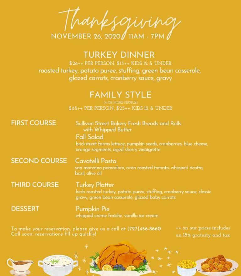 Hotel Zamora Thanksgiving Menu 2020 | St Pete Beach Restaurant