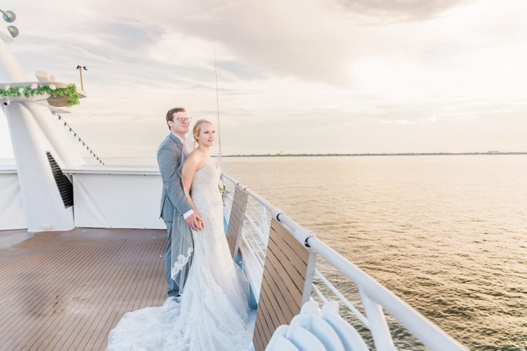 Bride and Groom Outdoor Waterfront Sunset Portrait Boat Ship Deck at Tampa Wedding Venue Yacht Starship