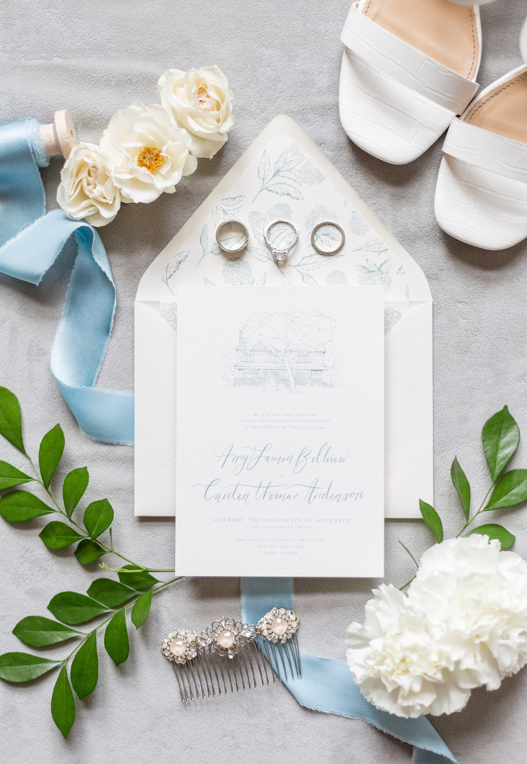 Classic and timeless white and dusty blue font