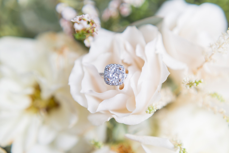 Round Solitaire diamond engagement ring with halo