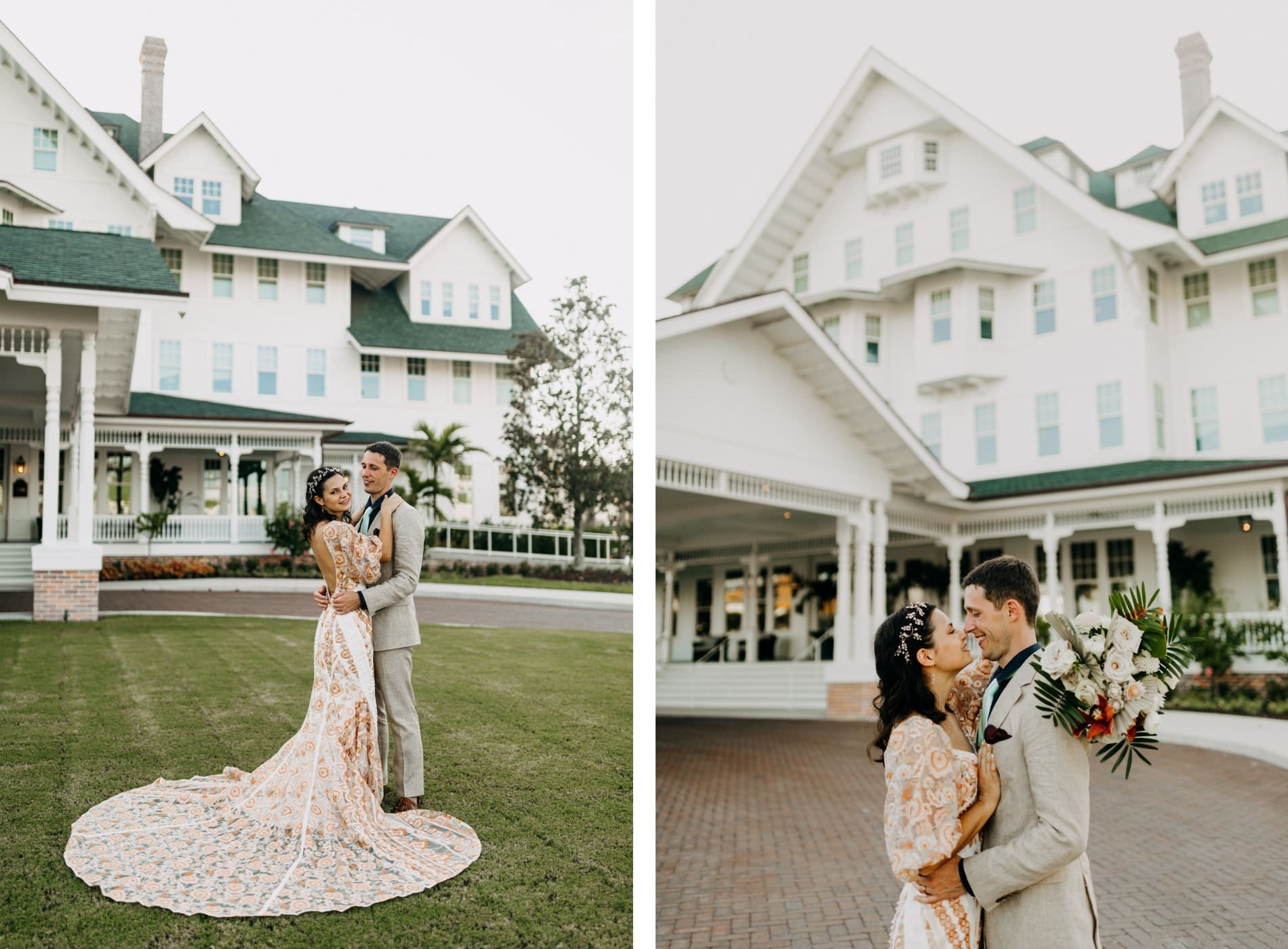Outdoor Bride and Groom Wedding Portrait at Historic Clearwater Venue Belleview Inn   Boho Gold Bronze Embroidered Overlay Wedding Dress Bridal Gown with Illusion Sleeves and Train   Groom in Grey Khaki Linen Suit   Amber McWhorter Photography