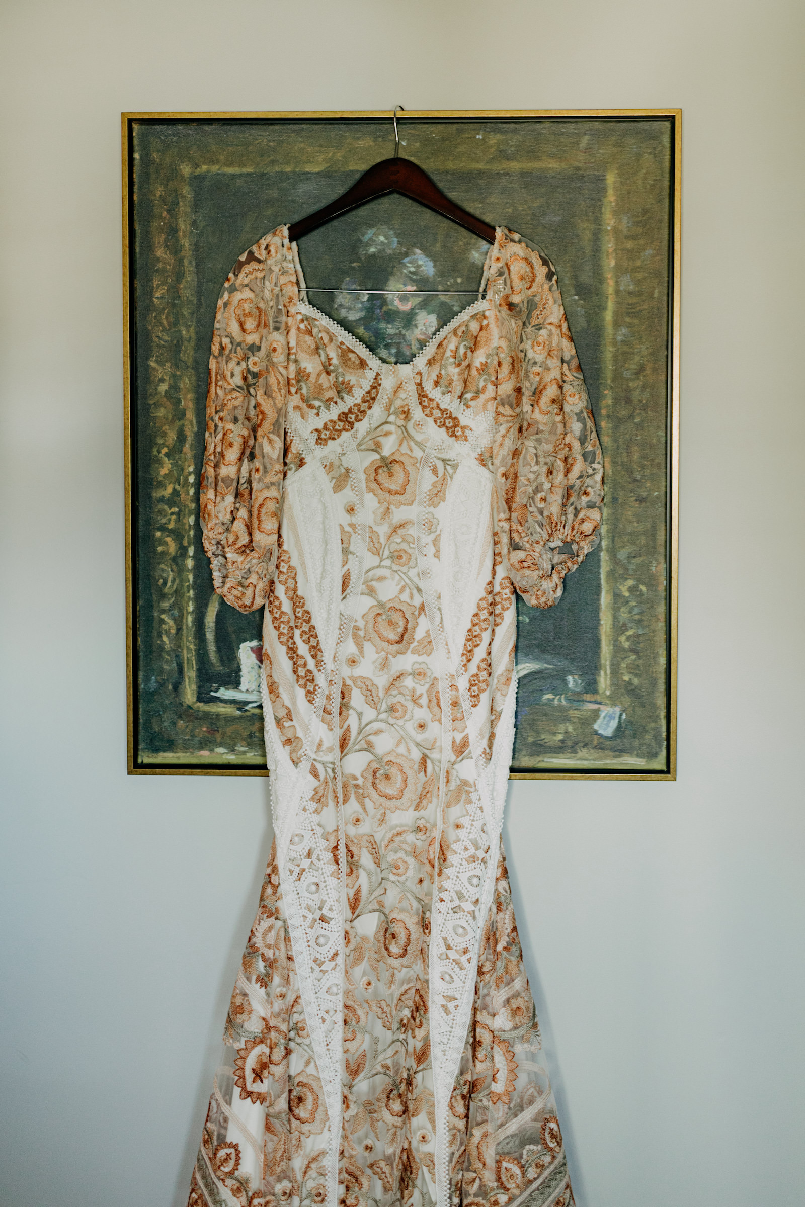 Boho Wedding Dress Hanger Shot   Gold Bronze Embroidered Overlay Wedding Dress Bridal Gown with Illusion Sleeves