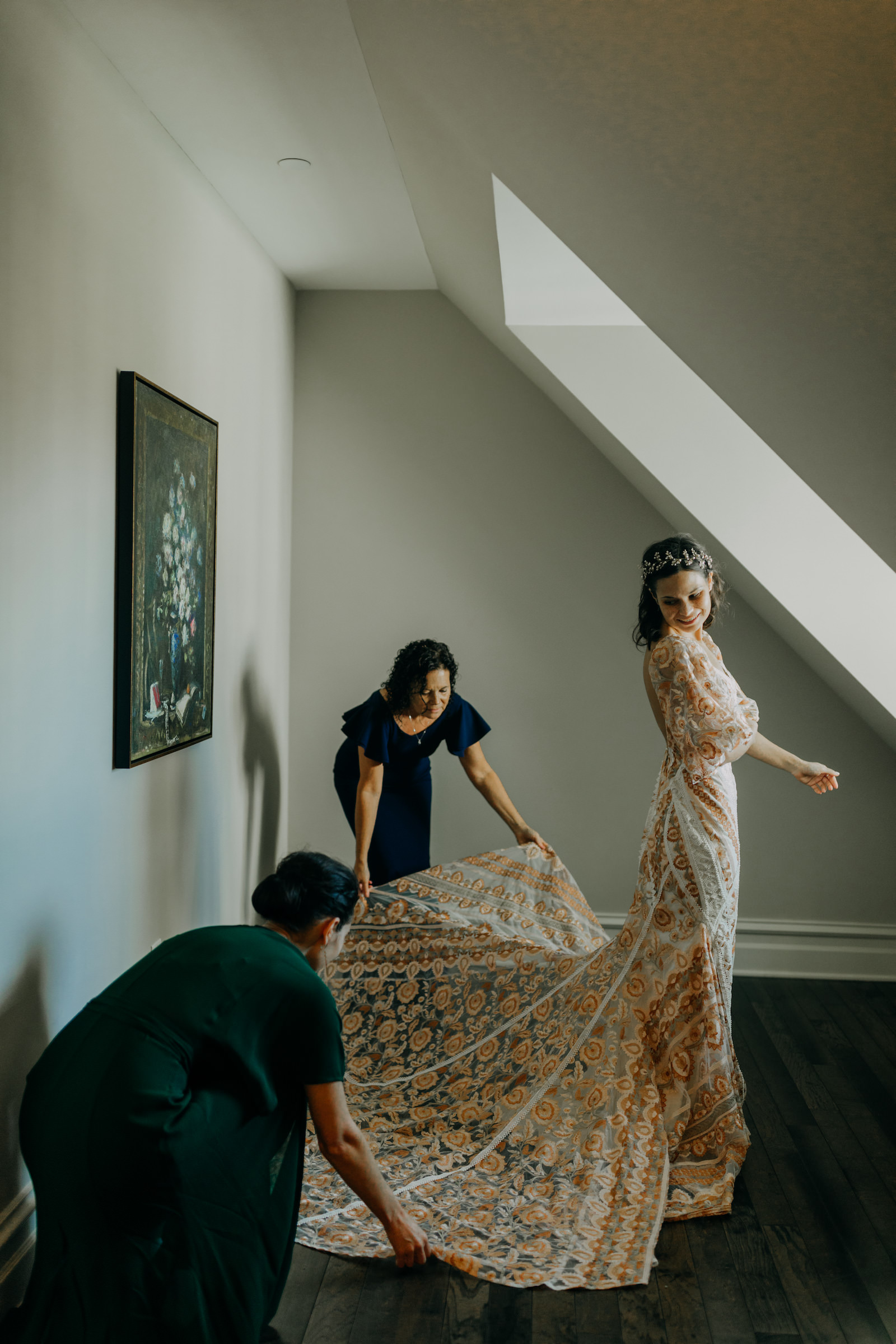 Indoor Bridal Portrait in Boho Wedding Dress   Gold Bronze Embroidered Overlay Wedding Dress Bridal Gown with Illusion Sleeves and Train   Amber McWhorter Photography