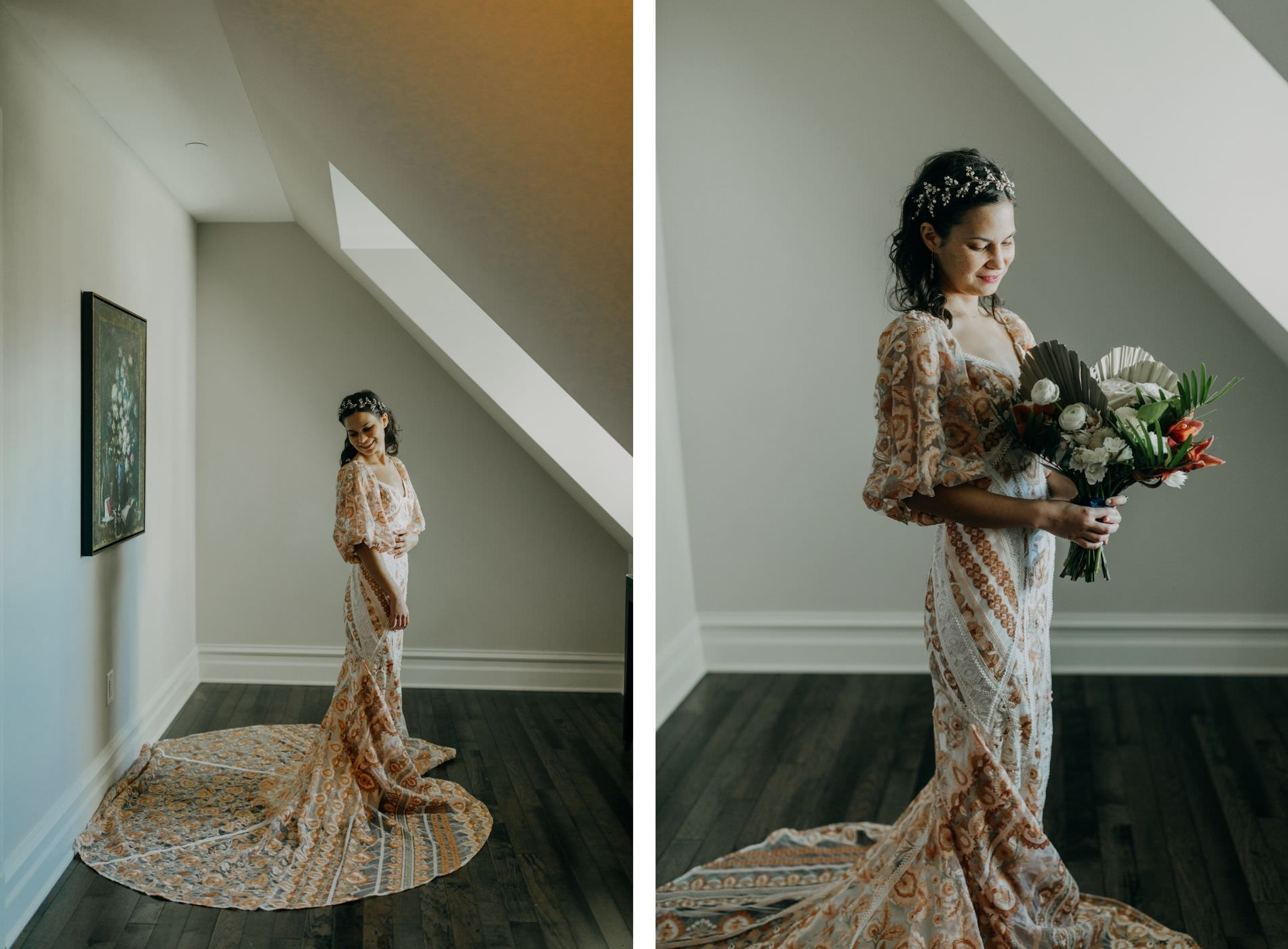 Indoor Bridal Portrait in Boho Wedding Dress   Gold Bronze Embroidered Overlay Wedding Dress Bridal Gown with Illusion Sleeves and Train   Tropical Boho Bridal Bouquet   Amber McWhorter Photography