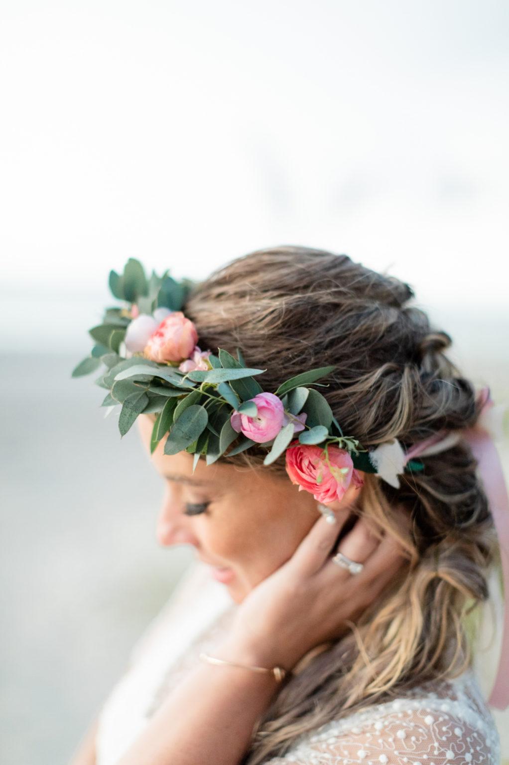 Pastel Peach Boho Beach Wedding Hair Inspiration with Bridal Floral Halo of Ranunculus and Eucalyptus Greenery | Michele Renee the Studio