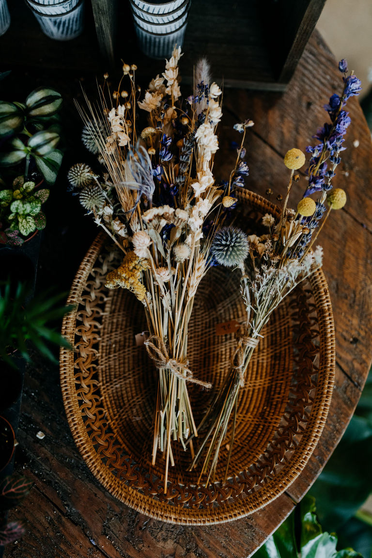 Boho Neutral Wedding Floral Bouquets with Dried Flowers, Round Thistles, Yellow and Purple Flowers | Tampa Bay Wedding Photographer Amber McWhorter | Wedding Planner Elope Tampa Bay | Styled Shoot