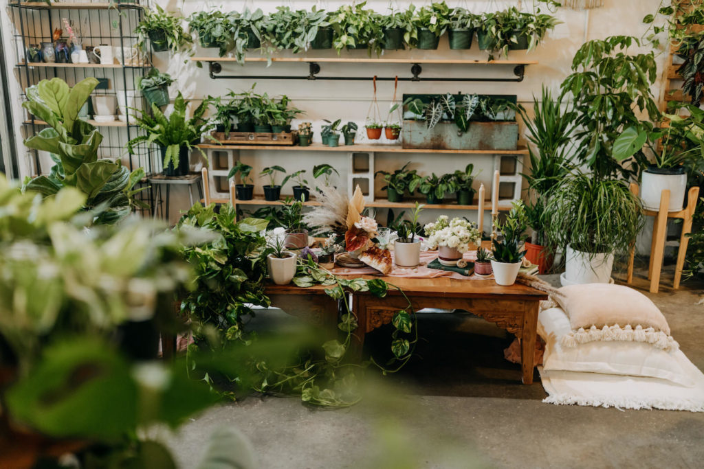 Boho Neutral Styled Shoot | Wooden Table with Greenery Plants, Unique Floral Centerpiece, White Pillows and Cushions | St. Pete Wedding Venue Wild Roots Nursery | Wedding Planner Elope Tampa Bay | Amber McWhorter Photography