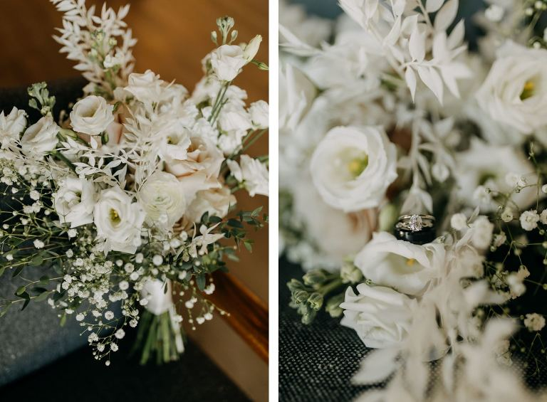 All White Floral Bouquet, Oval Diamond Engagement Ring | Tampa Bay Wedding Photographer Amber McWhorter | Wedding Planner Elope Tampa Bay