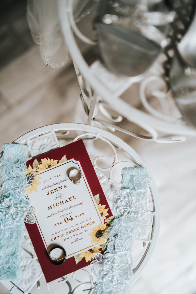 Rustic Dover Burgundy and Yellow Sunflower Wedding Invitation with Something Blue Bridal Garters