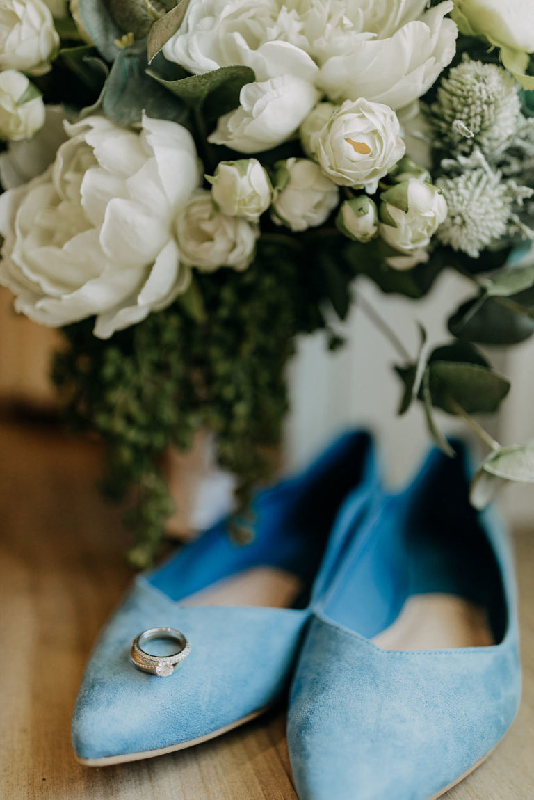 Bride Something Blue Pointed Velvet Wedding Shoes, Round Diamond Solitaire Engagement Ring, Classic White Floral Bouquet | Tampa Bay Wedding Photographer Amber McWhorter Photography