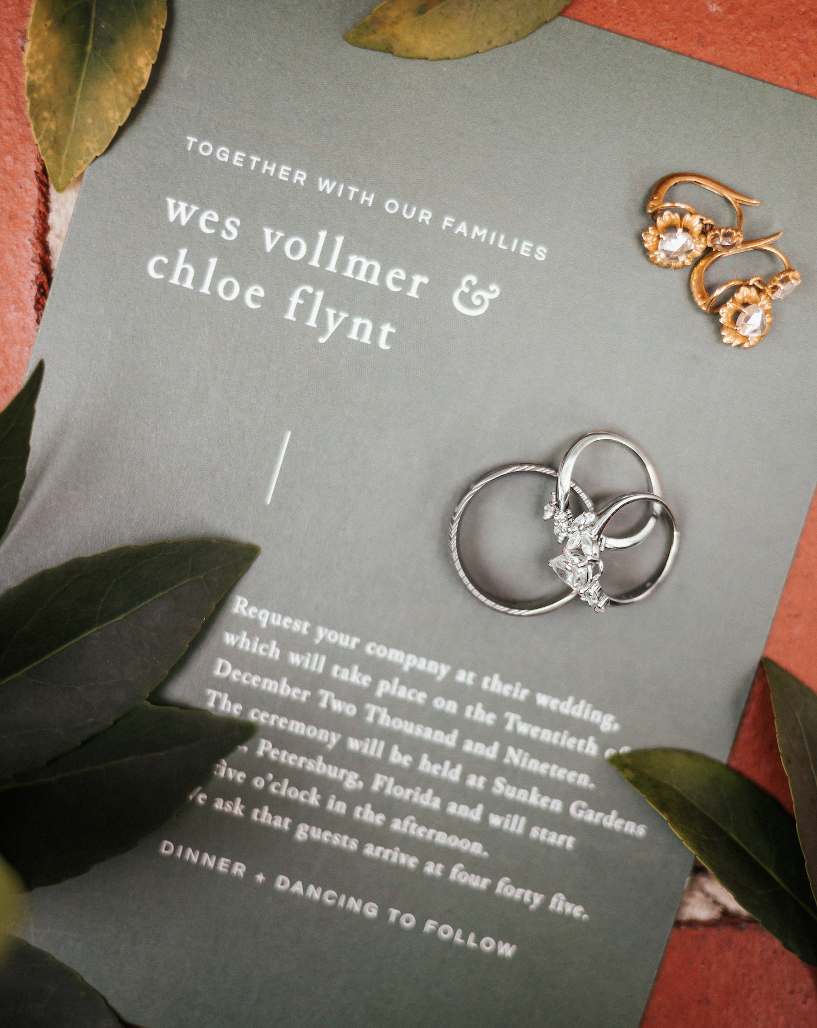 Modern Tropical Florida Wedding Invitation, Monochrome Gray Invitation with Silver Lettering, Engagement Rings