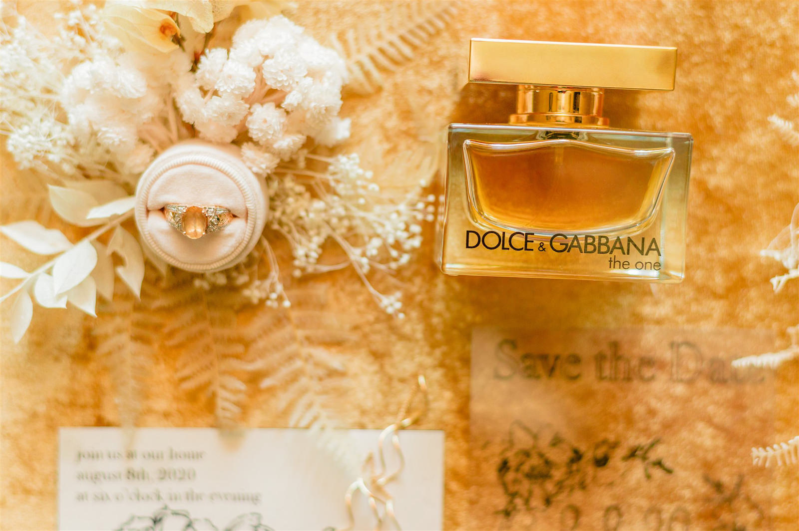 Aesthetic and Pretty Bride Wedding Accessories, Dolce and Gabbana Perfume Bottles, Oval Engagement Ring in Blush Pink Ring Box