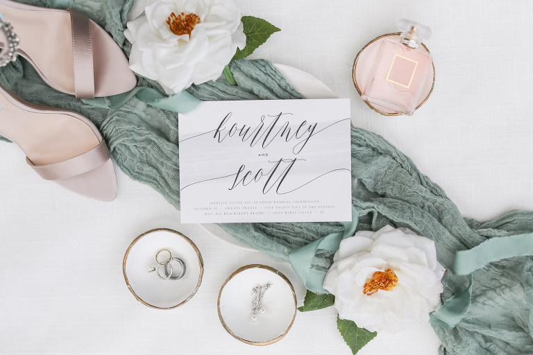 Vintage Inspired Florida Wedding Details, Ivory Modern Invitation with Blue Watercolor and Silver Script, with Soft Green Details| Sarasota Wedding Planner Kelly Kennedy Weddings | Tampa Bay Wedding Photographer Lifelong Photography Studio
