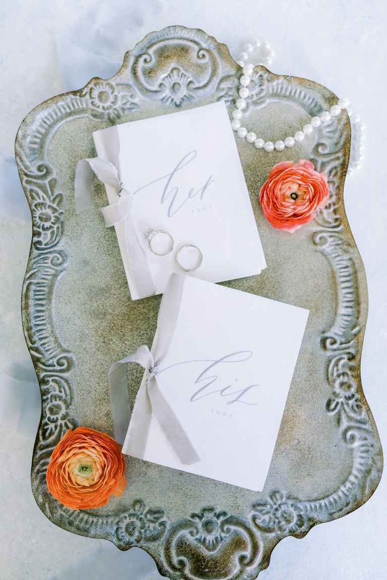 Vintage Inspired Florida Wedding Details, His and Her Vow Books with Light Blue Script | Tampa Bay Luxury Wedding Planner EventFull Weddings