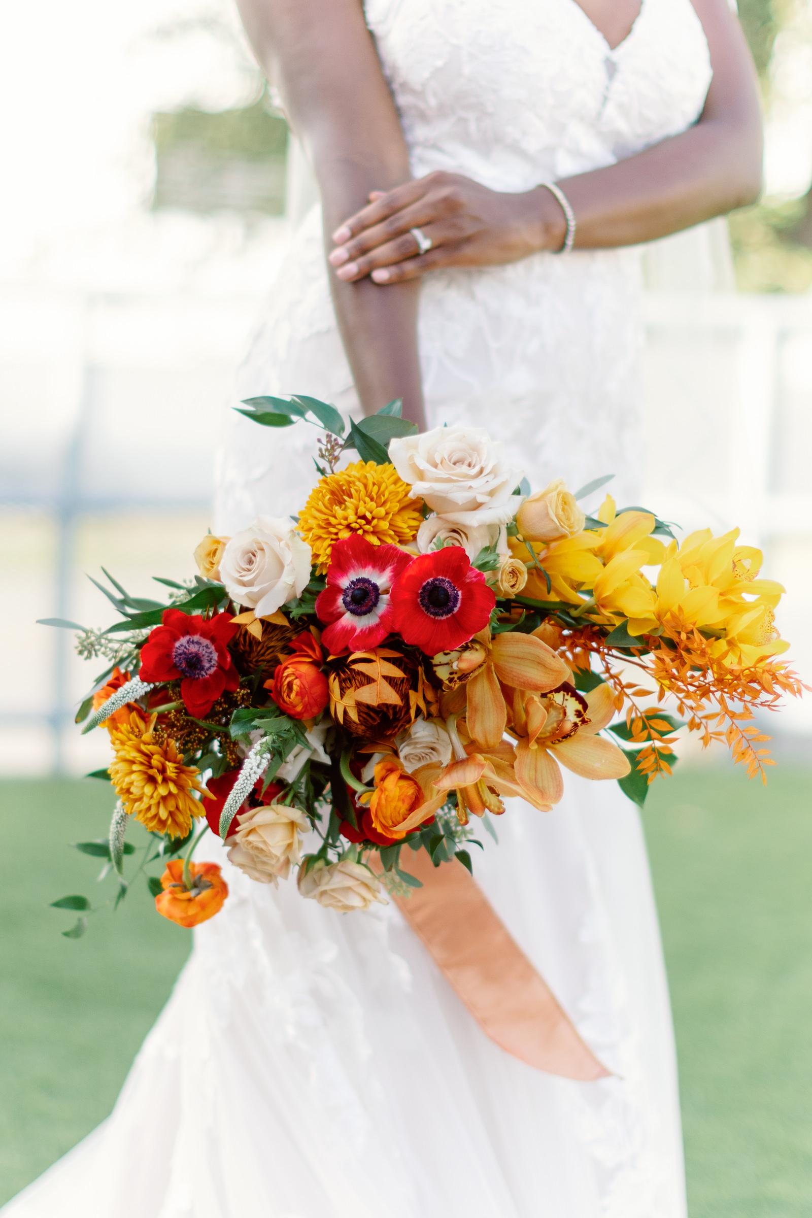 Autumn Inspired Florida Wedding Bouquet, Triadic Orange Color Palette, Red Posies, Yellow Flowers, Ivory Roses, Orange Florals with Dark Greenery   Tampa Bay Wedding Planner Coastal Coordinating, Jessica Zenobi