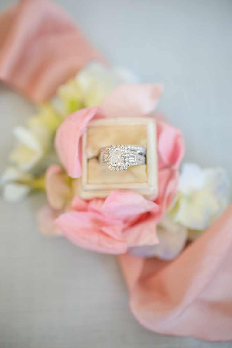 Wedding Ring Shot | Velvet Ring Box with Square Diamond Engagement Ring with Halo and Channel Set Band