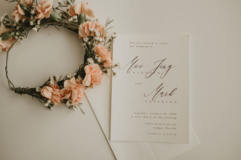 Minimalist Wedding Invitation with Calligraphy and Peach Pink Carnation Flower Crown Halo