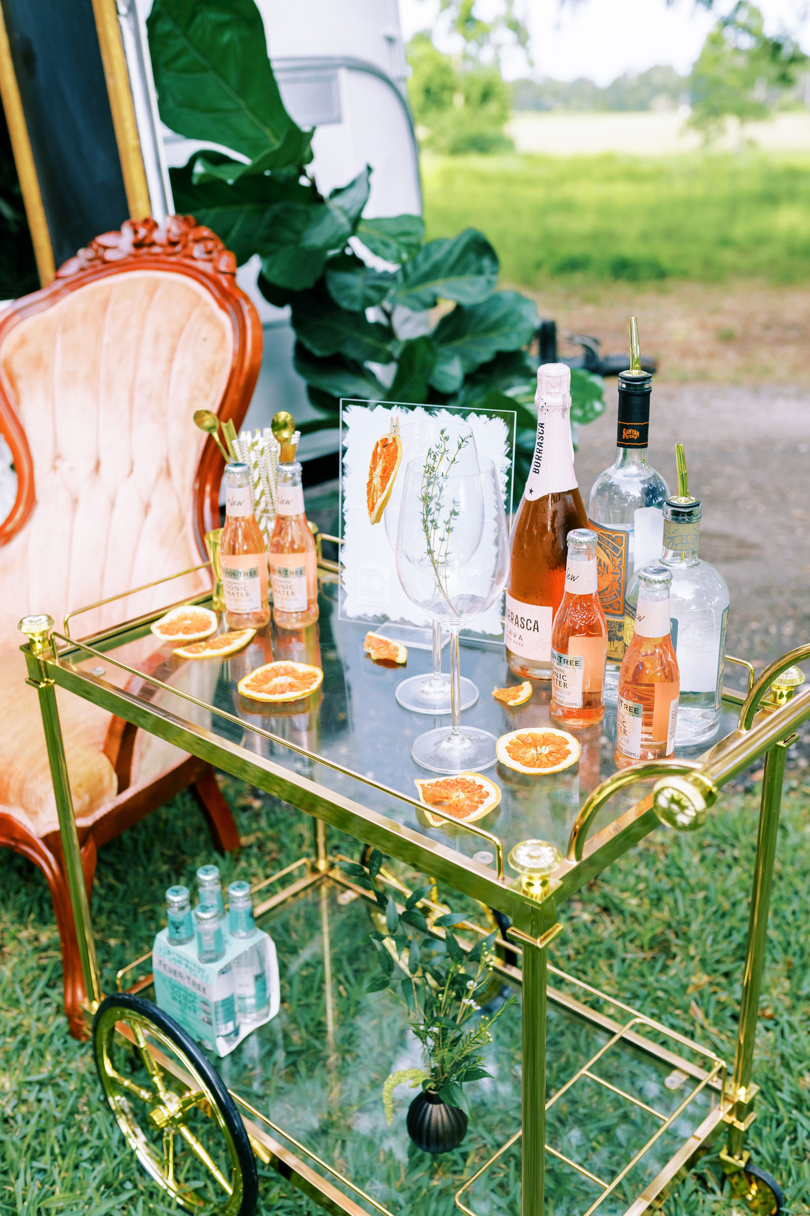 Vintage Inspired Cocktail Hour And Bar Cart Gold Cart With Rose Pink Beverages Tampa Bay Wedding Planner Eventfull Weddings Marry Me Tampa Bay Local Real Wedding Inspiration Vendor