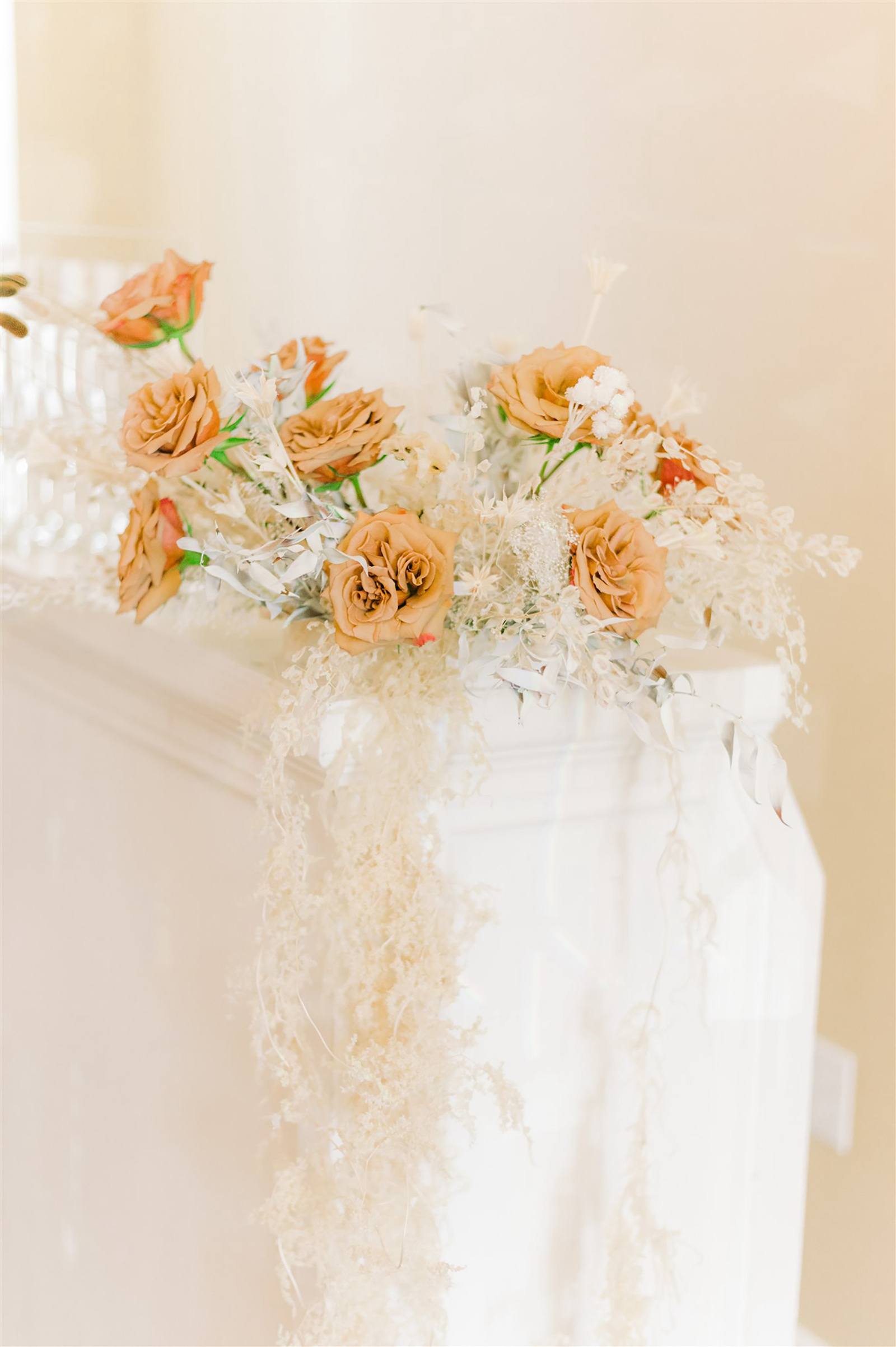 Modern and Boho Chic Wedding Reception Decor, Dried White Floral and Foliage with Beige Roses Bouquet on White Bar | Tampa Bay Wedding Planner, Designer, Florals John Campbell Weddings | Bar Service Spunky Spirits