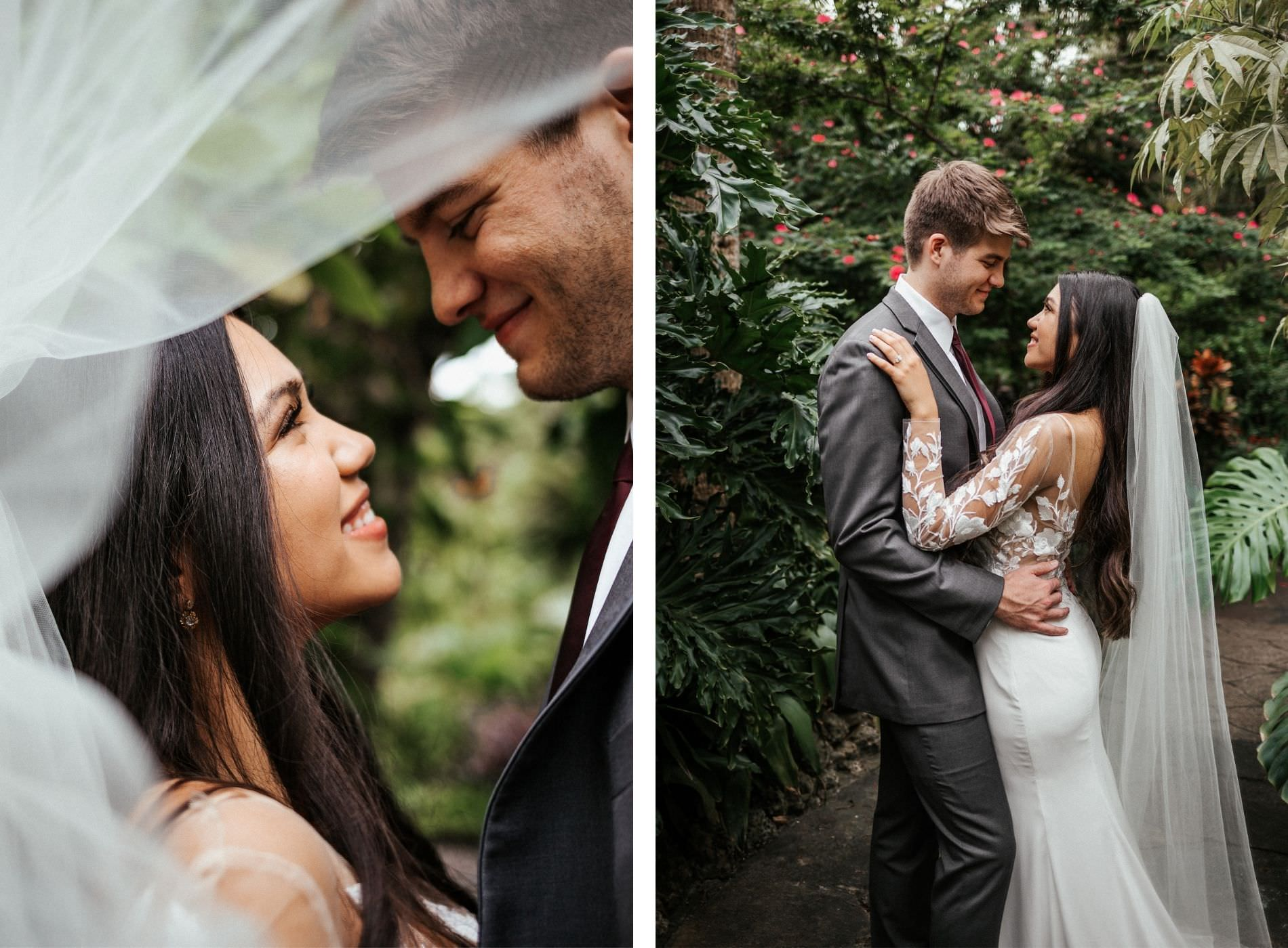 Tropical Elegant Inspired Florida Bride and Groom at Sunken Gardens in St. Petersburg, Bride Wearing White BHLDN Wedding Dress with Long Illusion Lace Sleeves and Flowy Veil | Tampa Bay Wedding Planner John Campbell Weddings