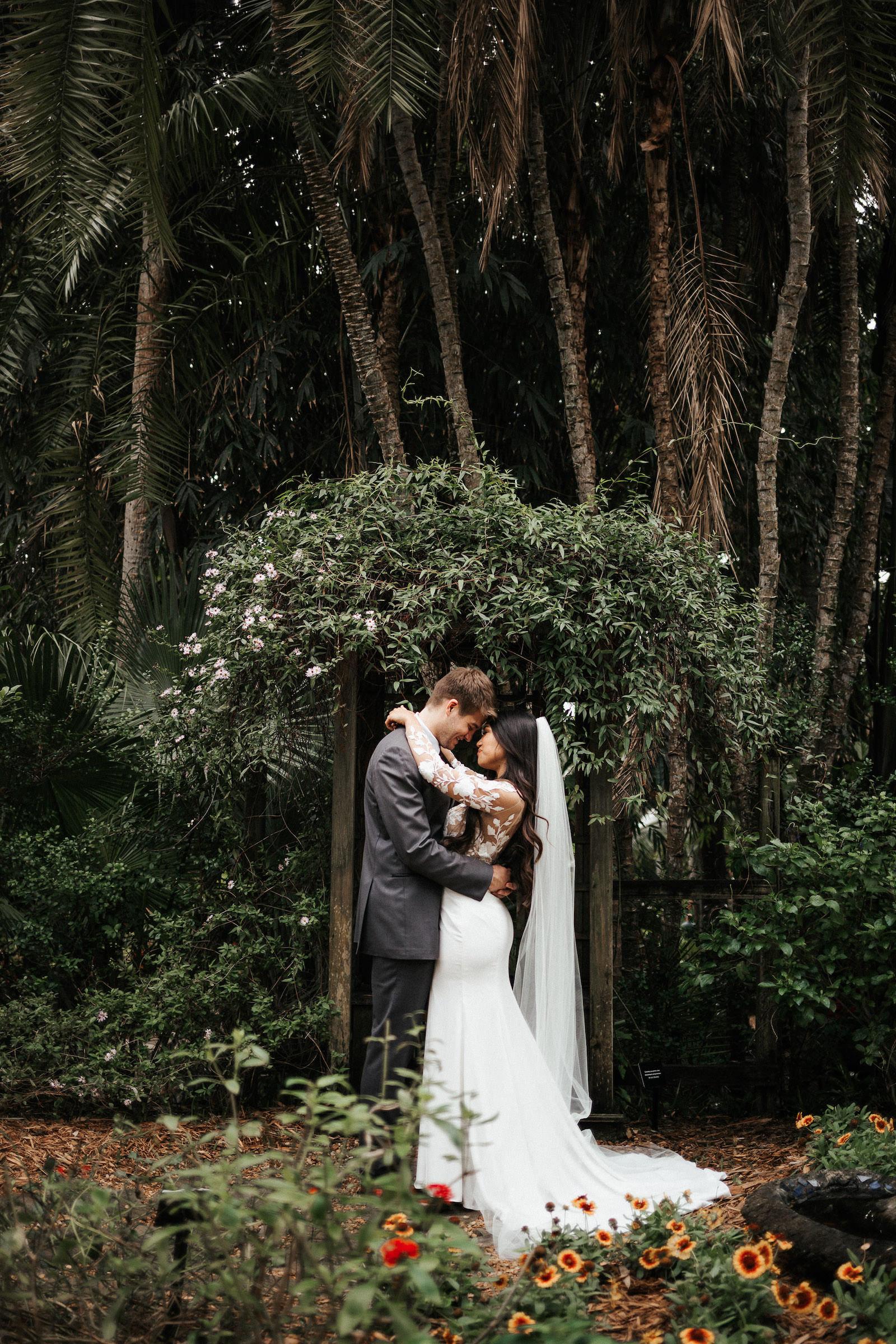 Tropical Elegant Inspired Florida Bride and Groom at Sunken Gardens in St. Petersburg, Bride Wearing BHLDN Wedding Dress | Tampa Bay Wedding Planner John Campbell Weddings