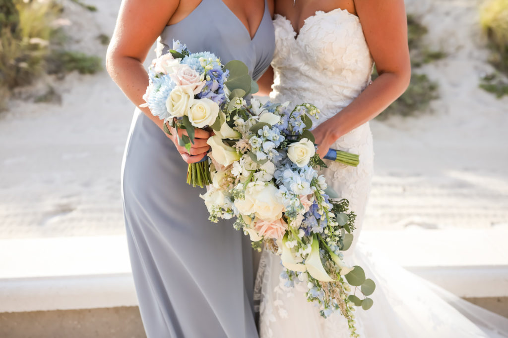 Blue and White Wedding Bouquets with Hydrangea Roses Delphinium Lisianthus and Eucalyptus Greenery | Strapless Lace Sweetheart Mermaid Wedding Dress Bridal Gown | Dusty Blue Grey Bridesmaid Dresses