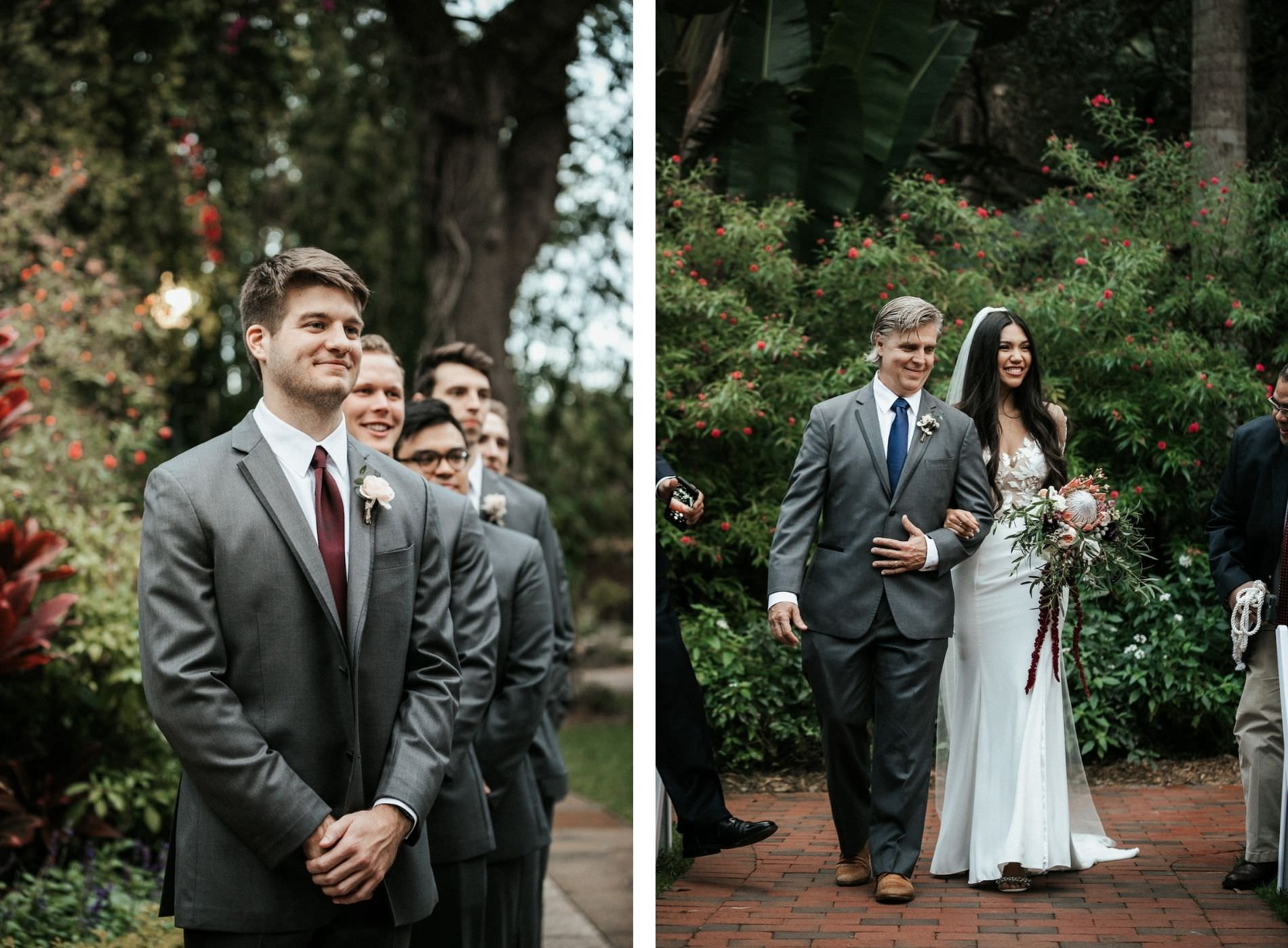 Tampa Bay Bride and Groom During Wedding Processional at Sunken Gardens Ceremony, Downtown St. Pete Bride and Father Walk Down the Aisle, Groom Wearing Charcoal Gray Suit with Dark Burgundy and Wine Tie | Florida Wedding Florist Posies Flower Truck | Tampa Wedding Planner John Campbell Weddings