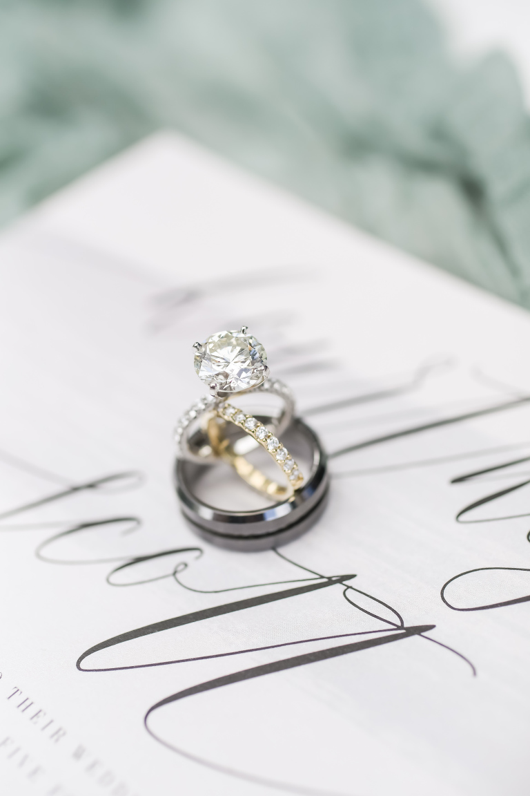 Luxurious Solitare Diamond Engagement Ring with Wedding Bands | Sarasota Wedding Planner Kelly Kennedy Weddings | Tampa Bay Wedding Photographer Lifelong Photography Studio