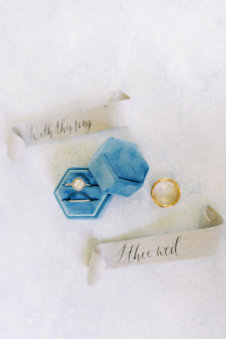 """Vintage Inspired Bridal Details, Blue Velvet Ring Box with Round Diamond Engagement Ring, Details """"With This Ring I Thee Wed"""" 
