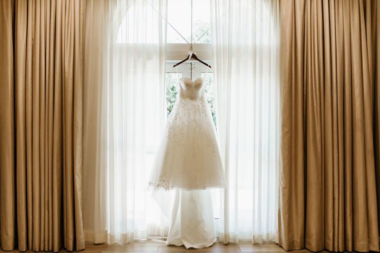 Wedding Dress Hanger Shot on Window | Ballgown A Line Lace Tulle Princess Wedding Dress with Sweetheart Neckline