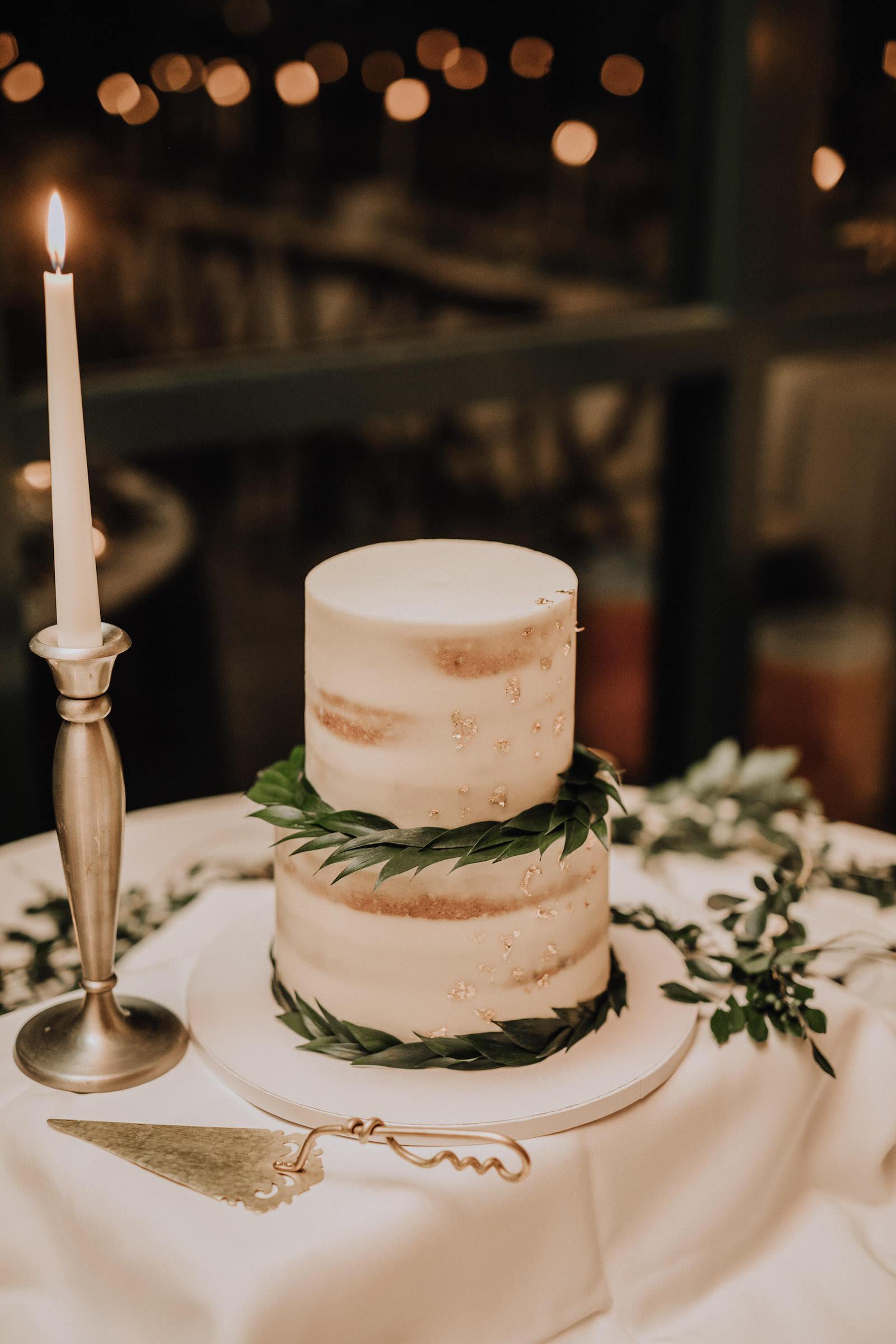 Mini Two-Tier Semi Naked Rustic Wedding Cake with Garland Greenery | Rustic Boho Wedding Cake Inspiration
