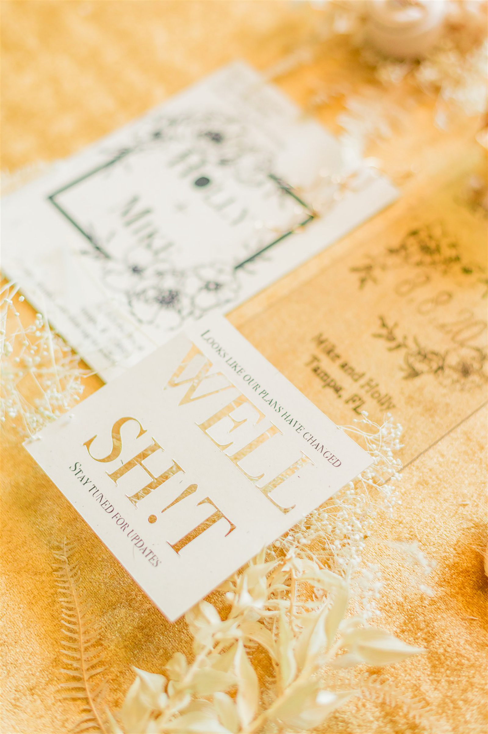Unique and Fun Gold Foil Well Sh!t Wedding Stationery from Tampa Bay Wedding Planner John Campbell Weddings