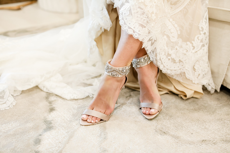 Vintage Inspired Florida Bride with Champagne Open Toe High Heels with Crystal Detailing on Ankle | Sarasota Wedding Planner Kelly Kennedy Weddings | Tampa Bay Wedding Photographer Lifelong Photography Studio