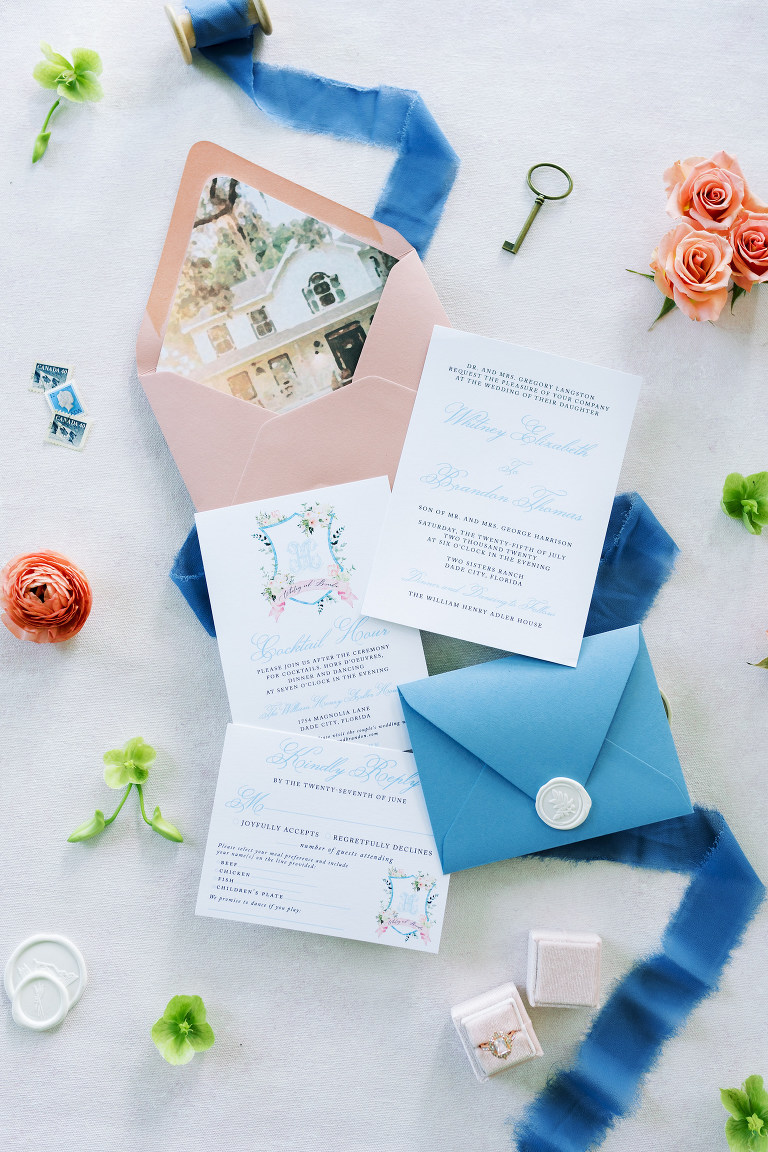 Southern Charm Inspired Wedding Invitation Suite, Blue Stationery with Blush Pink Envelope With Venue Image | Central Florida Luxury Wedding Planner EventFull Weddings