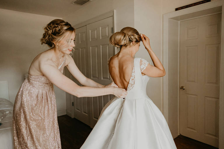 Bride Getting Dressed and Ready | Low Back Ballgown Wedding Dress | Champagne Blush Nude Pink Sequin One Shoulder Bridesmaid Dress