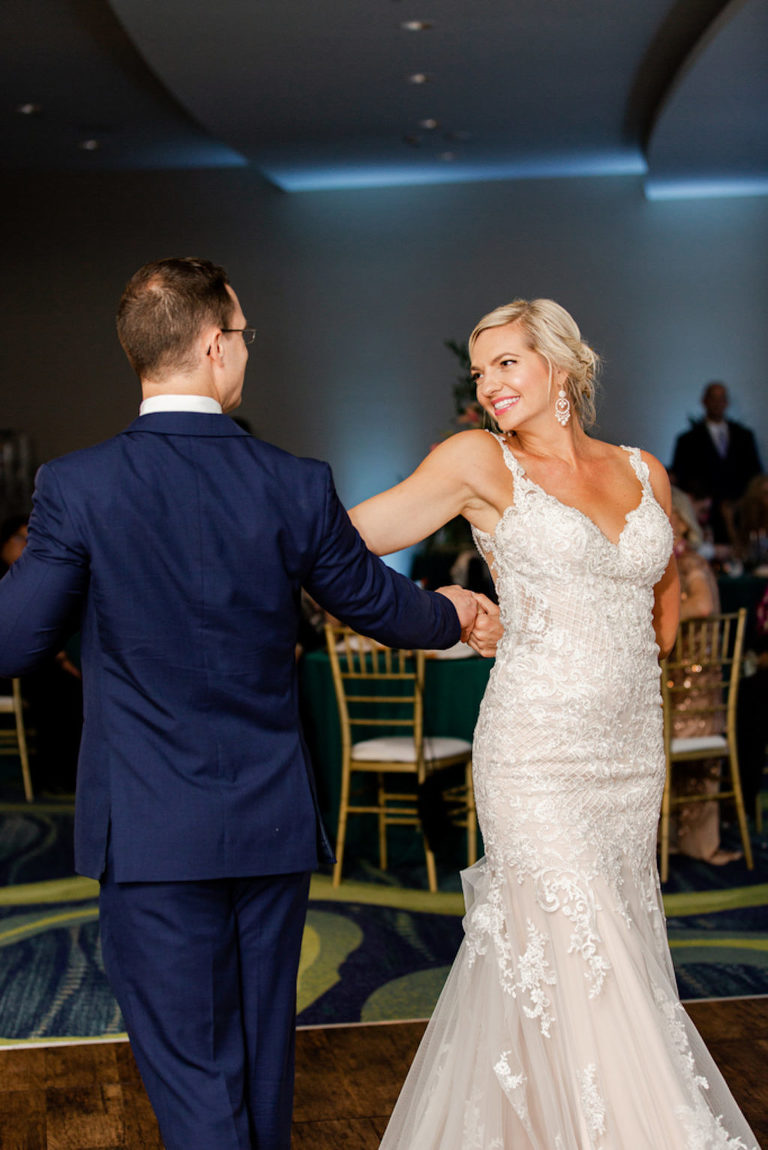Tropical Clearwater Beach Bride and Groom First Dance Wedding Reception Photo | Tampa Bay Wedding DJ Grant Hemond and Associates