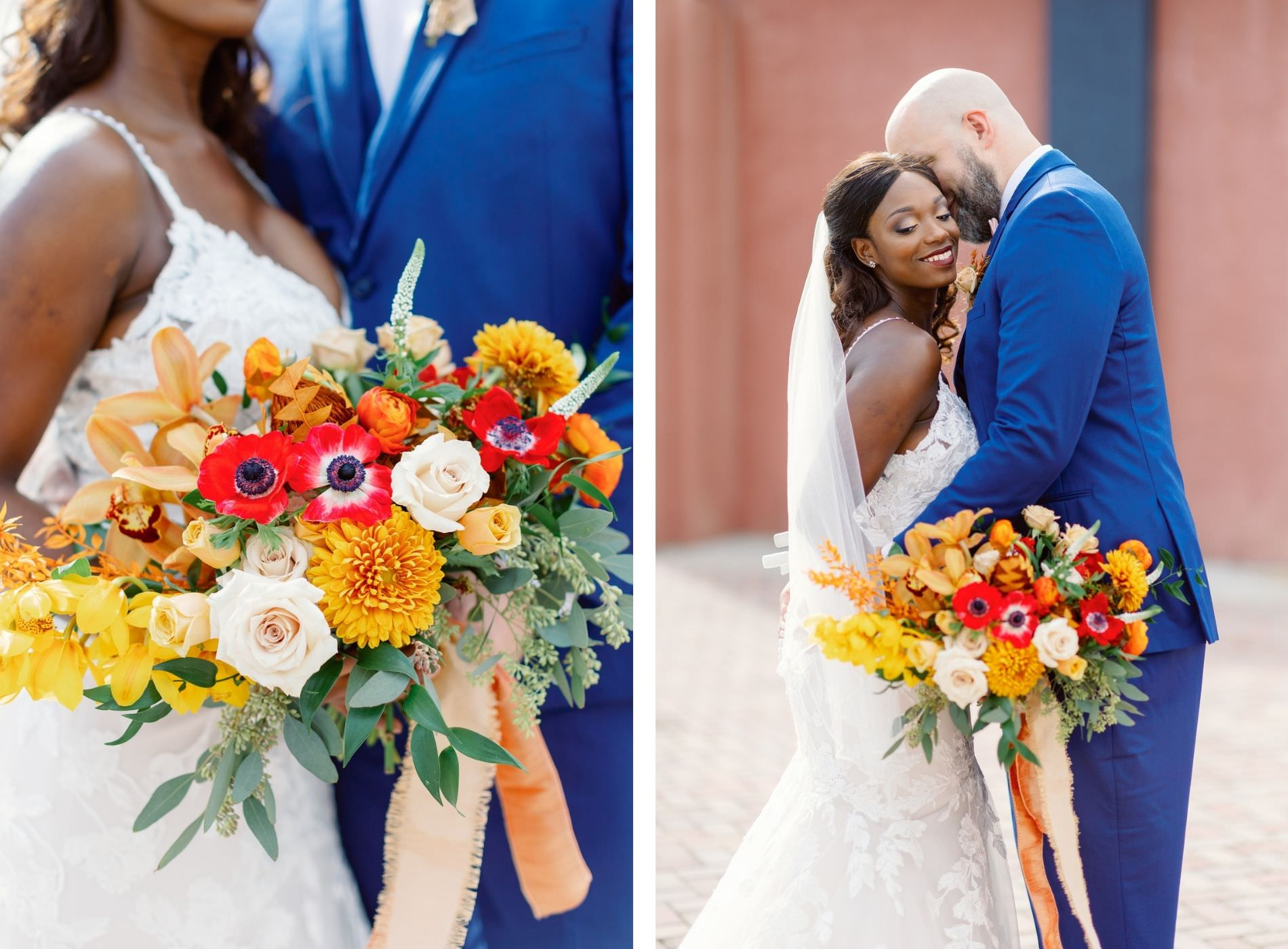 Downtown St. Petersburg Bride and Groom, Modern Boho Florida Bride Holding Vibrant Autumn-Inspired Floral Bouquet with Orange, Yellow, Red and White Florals, Bride Wearing White Lace Mermaid Style Dress, Groom in Dark Blue Suit   Tampa Bay Wedding Planner Coastal Coordinating